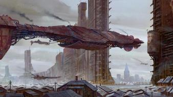 Cityscapes futuristic spaceships digital art science fiction artwork wallpaper