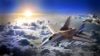 Clouds army dogfight altitude skies jet plane wallpaper