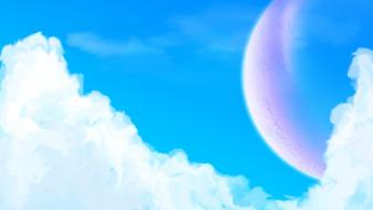 Clouds planets moon heaven artwork skies wallpaper