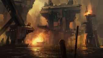 Digital art science fiction artwork post apocalyptic Wallpaper