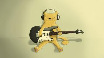 Headphones music cats guitars smiling artwork playing Wallpaper
