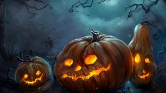 Horror lights happy halloween pumpkins colors wallpaper