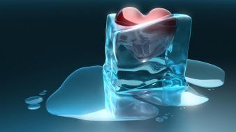 Ice blue frozen hearts heart wallpaper