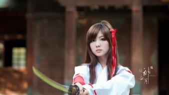 Japanese brown eyes girls with swords bangs wallpaper