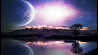 Landscapes outer space digital art reflections wallpaper
