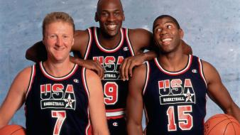 Michael jordan baskets magic johnson team usa wallpaper