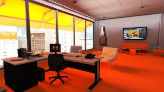 Mirrors edge office wallpaper