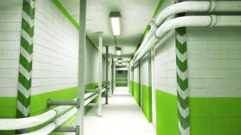 Mirrors edge pipes wallpaper