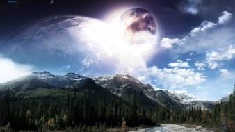 Mountains clouds landscapes forest planets moon surreal skies wallpaper