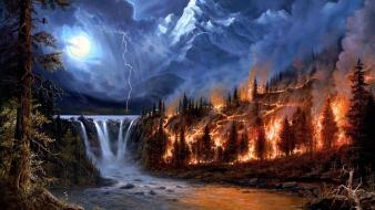 Mountains trees night wood fire moon falls lightning wallpaper