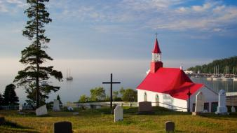 Nature fog canada national geographic church quebec wallpaper
