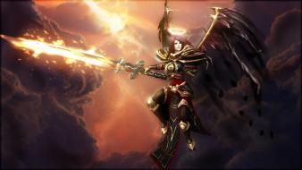 Of legends elite kayle swords crimson angel wallpaper