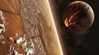 Outer space planets moon digital art collision wallpaper