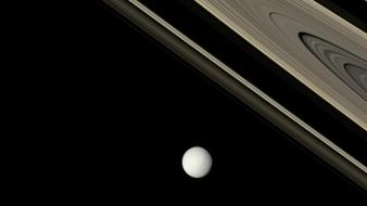 Outer space planets rings saturn moons tethys wallpaper