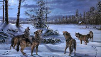 Paintings winter snow animals artwork wolves wallpaper