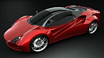 Red cars ferrari concept art vehicles wallpaper