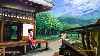 Reimu shrine photomanipulation gensokyo game fat man wallpaper