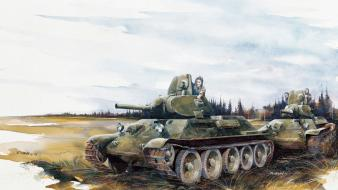 Soldiers tanks artwork t-34 wallpaper