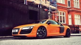 Streets cars orange audi vehicles r8 v8 wallpaper