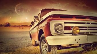 Sunset cars trucks Wallpaper