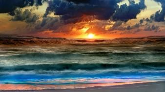 Sunset landscapes nature waves wallpaper