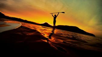 Sunset ocean waves paddleboarding board stand up wallpaper