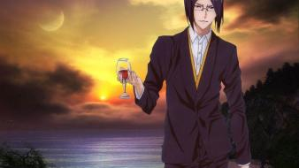 Uryuu men with glasses wine glass sea wallpaper