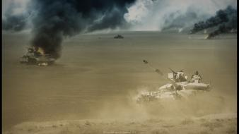 War fire desert smoke tanks wallpaper