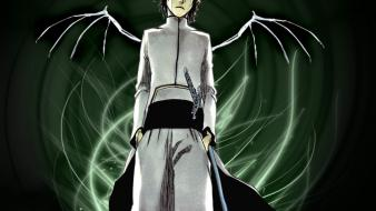 Wings bleach green eyes espada ulquiorra cifer skeletal wallpaper