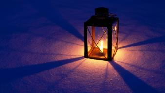 Winter snow shadows lanterns candles wallpaper