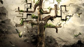 Abstract nature miracle desktopography tree house birds Wallpaper