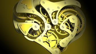 Abstract yellow orange funny clockwork 3d wallpaper