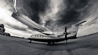 Black and white aircraft storm fisheye effect wallpaper