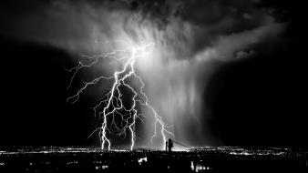 Black and white cityscapes lightning wallpaper