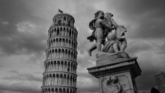 Black and white tower pisa italy leaning wallpaper