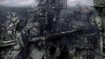 Black dark gothic town Wallpaper