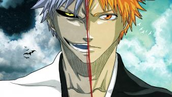 Bleach kurosaki ichigo day split hollow bats wallpaper