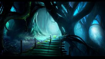 Blue nature bridges fantasy art wallpaper