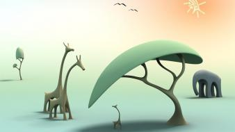 Cartoons nature trees elephants africa giraffes birds Wallpaper