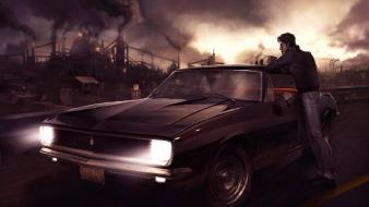 Cigarettes apocalyptic cities burning leaning muscle car wallpaper