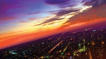 Cityscapes purple skies wallpaper