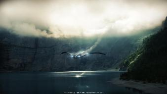 Fantasy art spaceships ufo lakes aliens photoshop Wallpaper