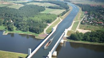 Germany ships bridges crossing rivers aerial view Wallpaper