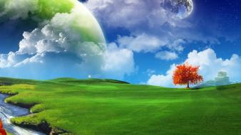 Green trees earth fantasy art artwork wallpaper