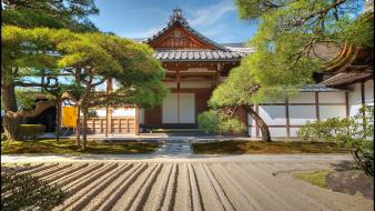 Japan sand trees garden asia temple david panevin wallpaper