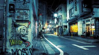 Japan tokyo cityscapes night signs graffiti stores Wallpaper
