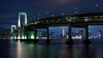 Japan tokyo cityscapes towers rainbow bridge Wallpaper