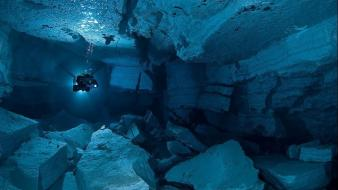 Landscapes cave russia underwater Wallpaper