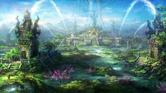 Landscapes fantasy art temples digital artwork wallpaper