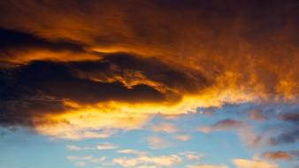 Light clouds orange gray darkness sky wallpaper